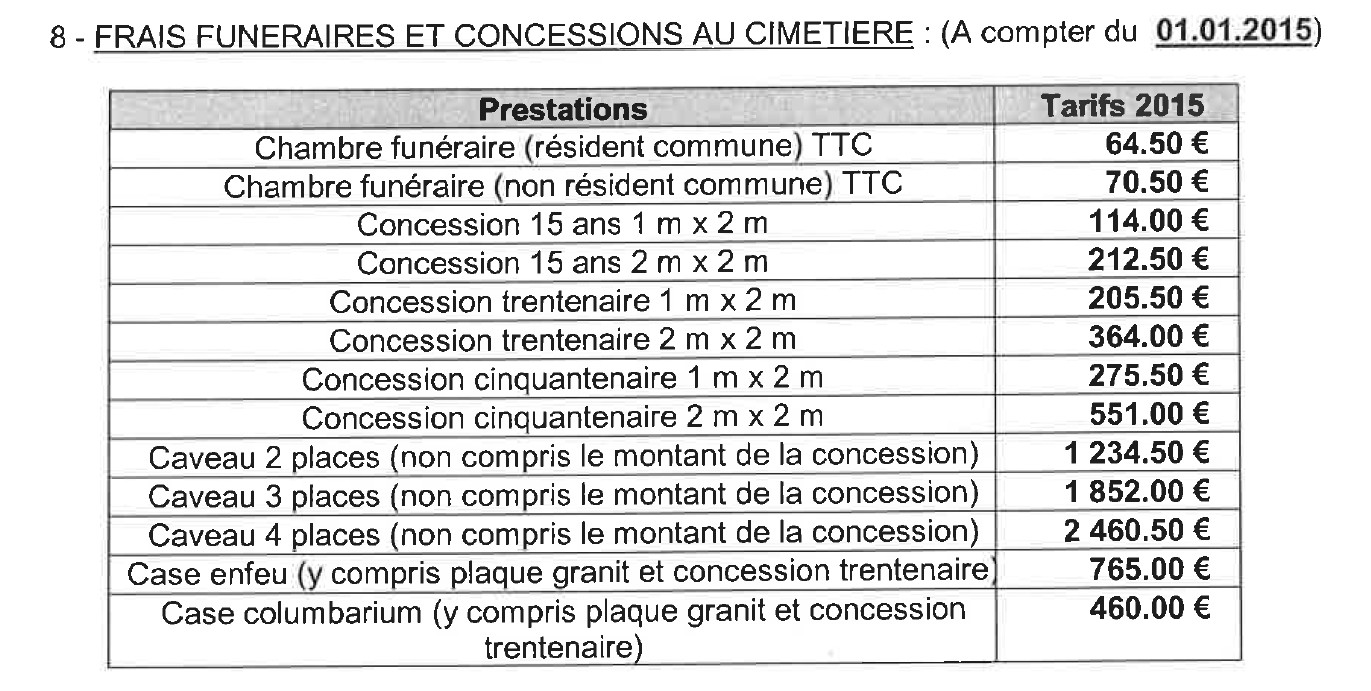 Tarifs du cimeti re for Tarif chambre funeraire