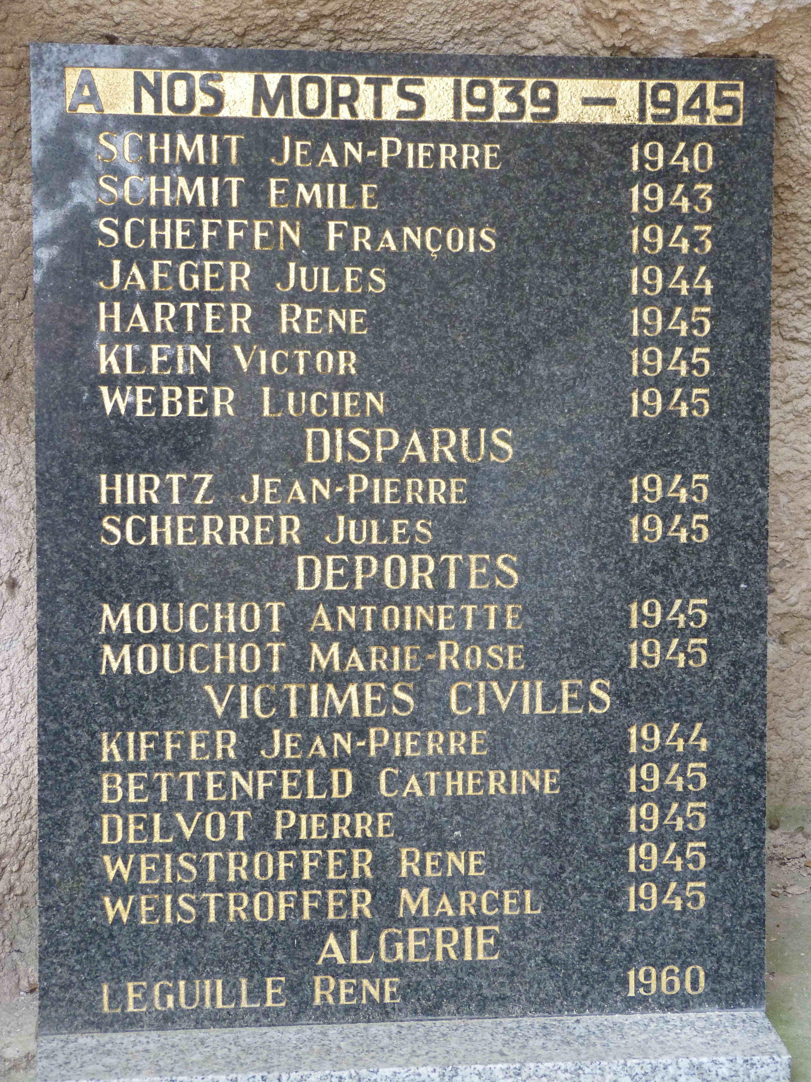 Plaque Kirschnaumen 1939-1945