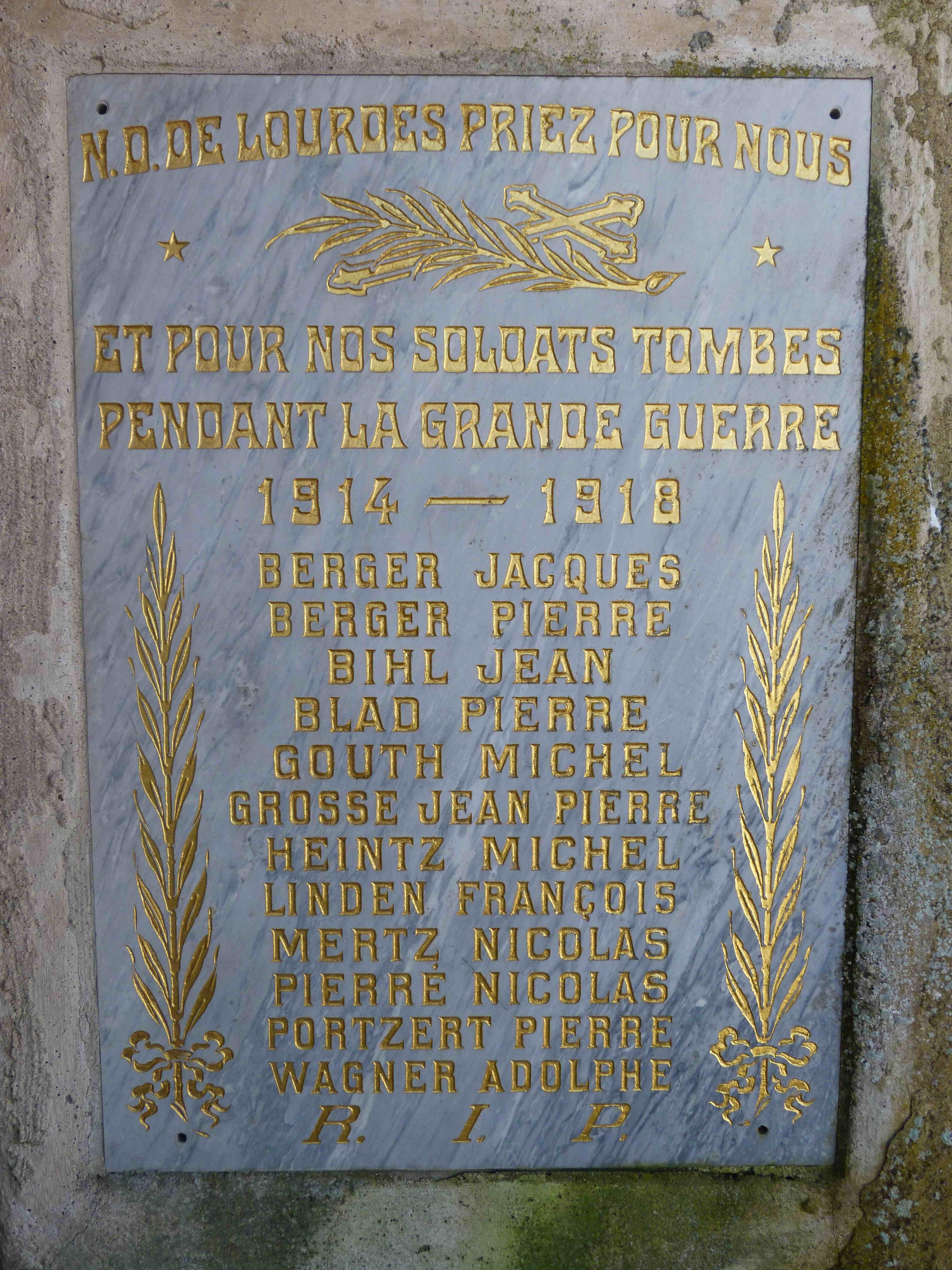 Plaque 1914-1918 Kirshnaumen