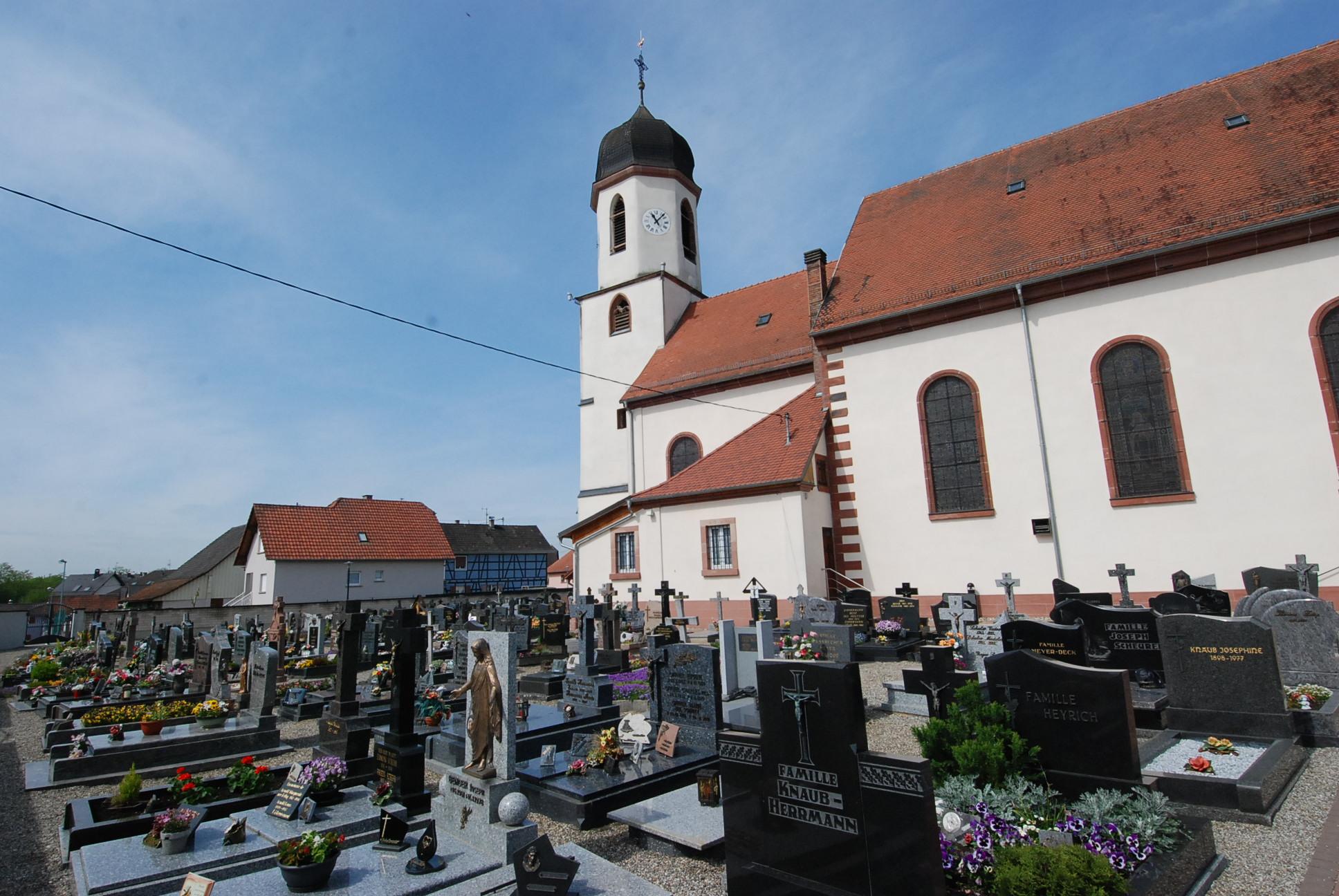 vue sur le cimetière de mothern et son église